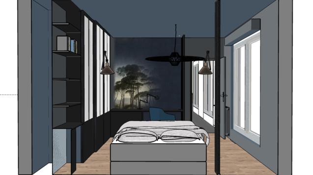 Conception intérieur chambre en 3D aux couleurs sombres à Bayonne