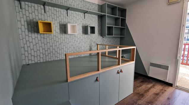 Réalisation chambre d'enfant décoration bleu vert avant aménagement Bayonne