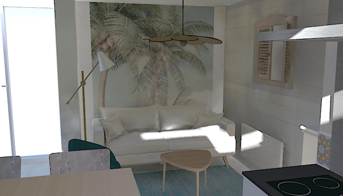 Vue photoréalisme du coin salon dans une résidence secondaire bord de mer dans les Landes à Seignosse