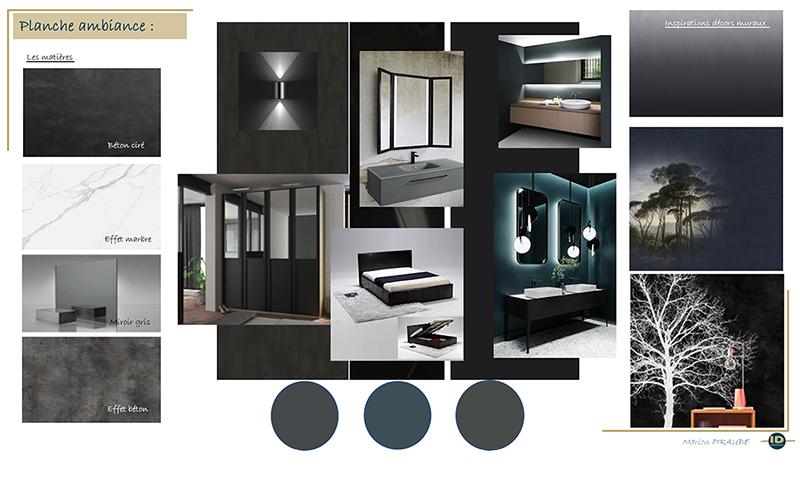 Planche d'ambiance pour chambre aux couleurs sombres au Pays-Basque