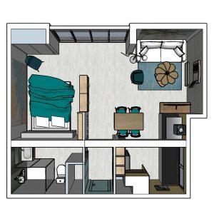 Agencement intérieur plan 3D ambiance exotique Côte Landaise