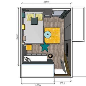 Vue de dessus plans 3D pour l'agencement intérieur de la chambre d'enfant à Bayonne