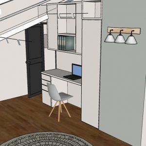 Visuel 3D bureau chambre d'enfants sous pente à Biarritz