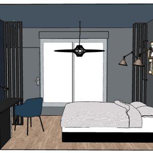 Conception 3D d'une chambre masculine au couleur sombre et plafond en bleu gris à Bayonne