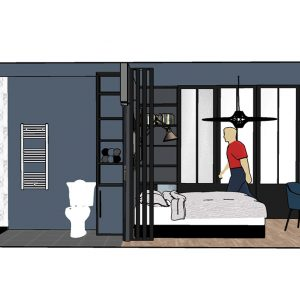 Coupe 3D salle d'eau et chambre aux couleurs sombres bleue et grise au Pays-Basque