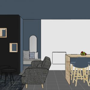Pièce de vie d'un appartement en harmonie avec les différents espaces bleu et gris à Bayonne