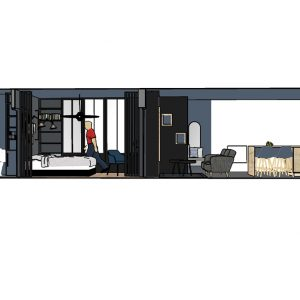 Coupe de tout l'appartement du projet décoratif à Bayonne