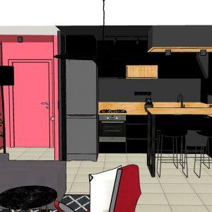 Vue 3D du futur projet de la cuisine boite noire sur la Côte basque