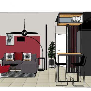 Vue 3D sur le mur rouge du salon d'une résidence de Saint Jean de Luz