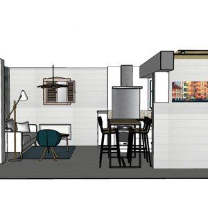 Coupe 3D avec vue de l'entrée et de la pièce de vie avec mur en lame de bois blanche horizontale à Seignosse