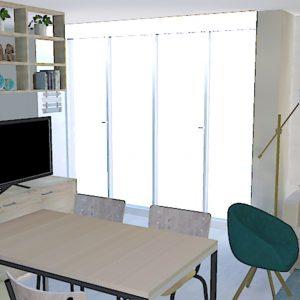 Vue d'ensemble de la pièce de vie avec séparation chambre dans un espace réduit à Seignosse