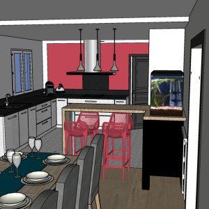 Visuel 3D sur la cuisine avec mur rouge Biarritz
