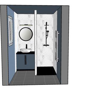 Salle d'eau bleu, marbre et détail noir avec optimisation d'espace à Bayonne