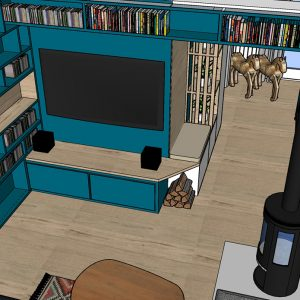 Dessin 3D d'un grand meuble TV sur mesure bleu canard Biarritz