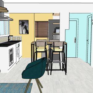 Vue 3D de l'entrée et coin cuisine au style bord de mer dans les Landes