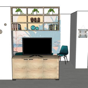 Conception meuble sur mesure pour séparer espace nuit et espace jour dans un T1 au bord de l'océan dans les Landes