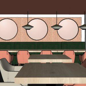 Modélisation 3D du projet de décoration intérieur du restaurant d'hôtel à Bayonne